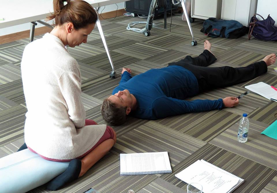 Teaching meditation savasana in Dubai